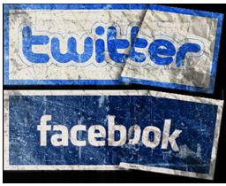 Социальные иконки в виде бумажных стикеров